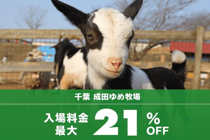 成田ゆめ牧場の入場料金が割引になるお得なクーポンチケット♪最大21%OFF